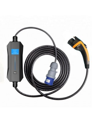 Ciclosystem® Carregador Portátil  tipo1 (SAE J1772) Monofásico (Ajustável 10A-32A) LCD 7.4Kw